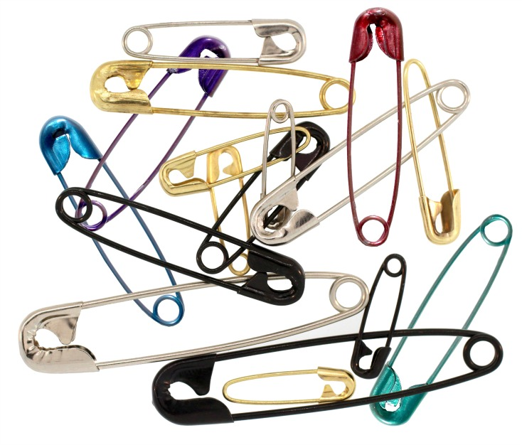 Colored Safety Pins at Manhattan Wardrobe Supply