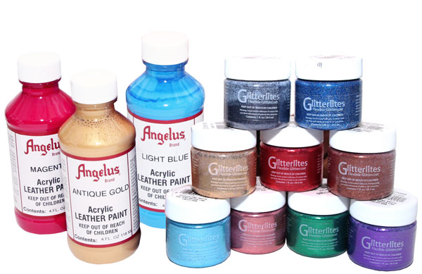 Angelus Leather Paint and Glitterites by Manhattan Wardrobe Supply