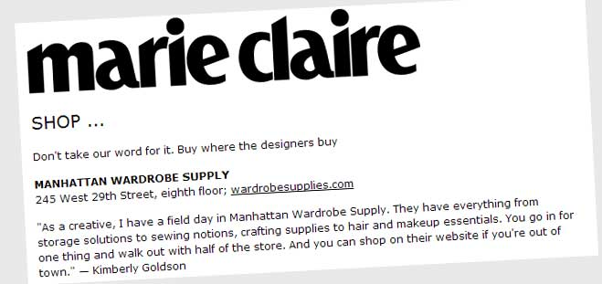 Manhattan Wardrobe Supply in Marie Claire