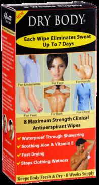 Kleinert's Dry Body Clinical Strength Antiperspirant Wipes by Manhattan Wardrobe Supplies