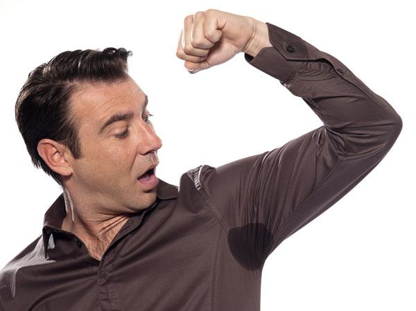 man sweating by Manhattan Wardrobe Supply