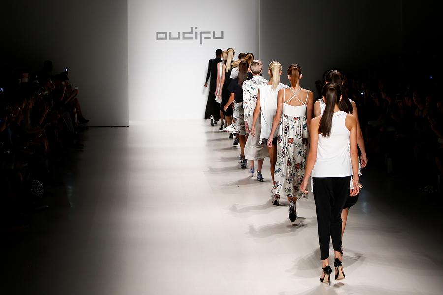 NEW YORK-SEP 8: Models walk the runway at the OUDIFU fashion sho