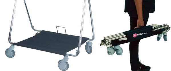 MWS Folding Chrome Rolling Rack w/ Bottom Tray & Carry Holder Rolling Racks: Our Great New Products by Manhattan Wardrobe Supply